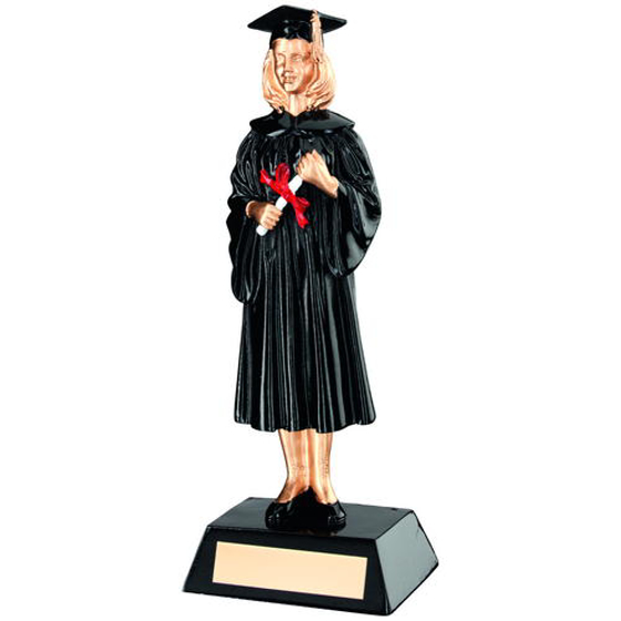 Picture of Blk/gold Resin Female Graduate Trophy - 9.25in (235mm)