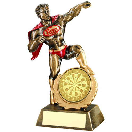 Picture of Brz/gold/red Resin Generic 'hero' Award With Darts Insert - 7.25in (184mm)