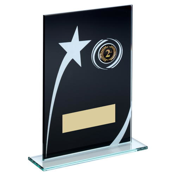 Picture of Blk/white Printed Glass Plaque With Shooting Star Trophy (1in Centre) - 7.25in (184mm)