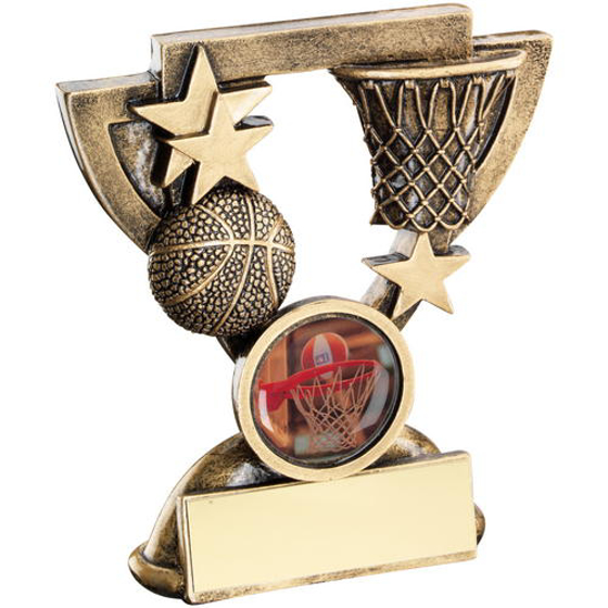 Picture of Brz/gold Basketball Mini Cup Trophy - (1in Centre) 4.25in (108mm)