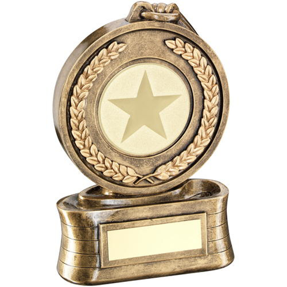 Picture of Brz/gold Medal And Ribbon Holder Trophy - (2in Centre) 6.5in (165mm)