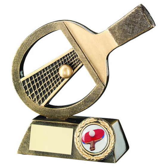 Picture of Brz/gold Table Tennis Bat/net/ball Trophy - (1in Centre) 6in (152mm)