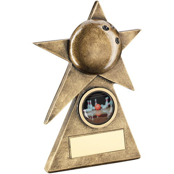 Picture of Brz/gold Ten Pin Star On Pyramid Base Trophy - (1in Centre) - 5in (127mm)