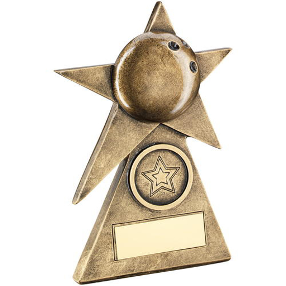 Picture of Brz/gold Ten Pin Star On Pyramid Base Trophy - (1in Centre) - 6in (152mm)