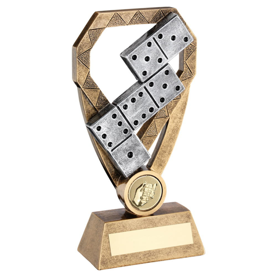 Picture of Brz/pew/gold Dominoes On Diamond Trophy (1in Centre) - 7in (178mm)