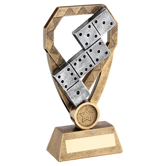 Picture of Brz/pew/gold Dominoes On Diamond Trophy (1in Centre) - 8in (203mm)