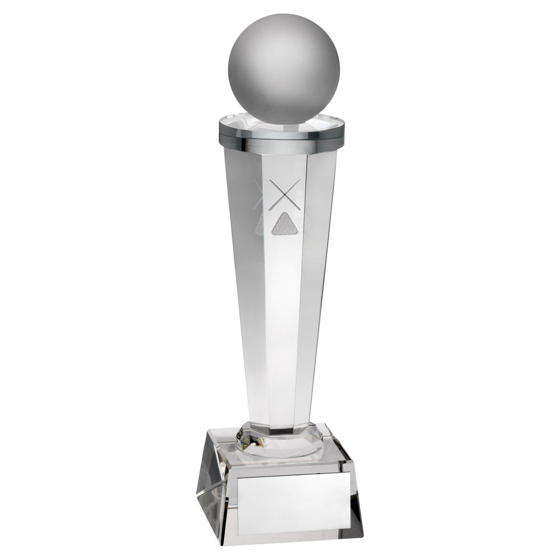 Picture of Clear Glass Column With Lasered Pool/snooker Image Trophy - 10.5in (267mm)