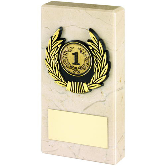 Picture of Cream Marble And Gold Trim Trophy - (1in Centre) 3in (76mm)
