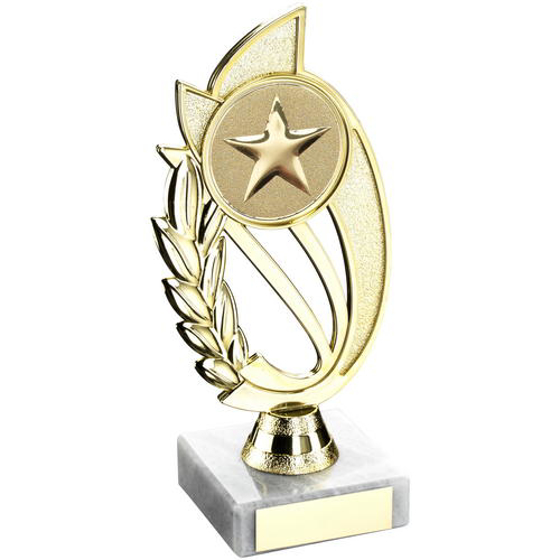 Picture of Gold Plastic Laurel Holder On Marble Trophy - (2in Centre) 9in (229mm)
