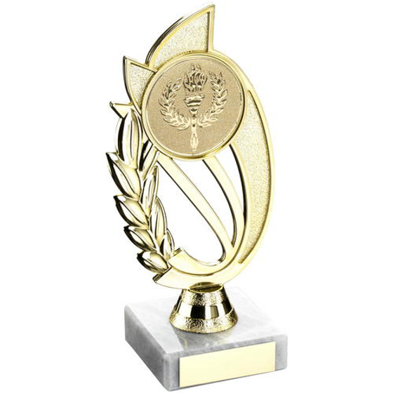 Picture of Gold/blue Plastic Holder On Marble Trophy -    (2in Centre) 9in (229mm)