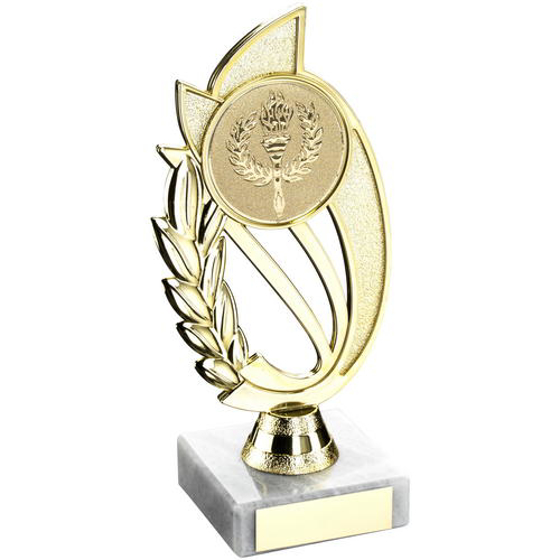 Picture of Gold/matt Silver Plastic Holder On Marble Trophy - (2in Centre) 9in (229mm)