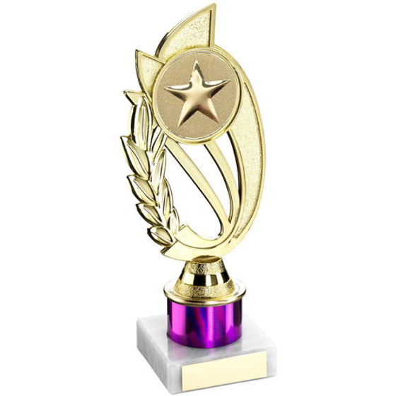 Picture of Gold/purple Plastic Holder On Marble Trophy - (2in Centre) 8in (203mm)