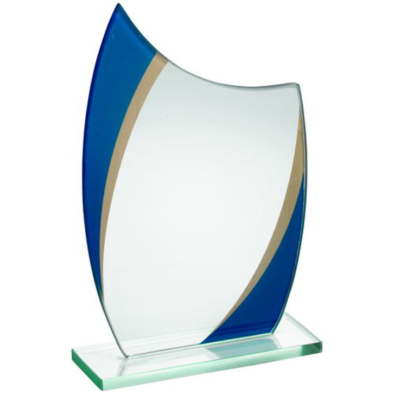 Picture of Jade Glass Curved Plaque With Blue/gold Highlights - (5mm Thick) 7.5in (191mm)