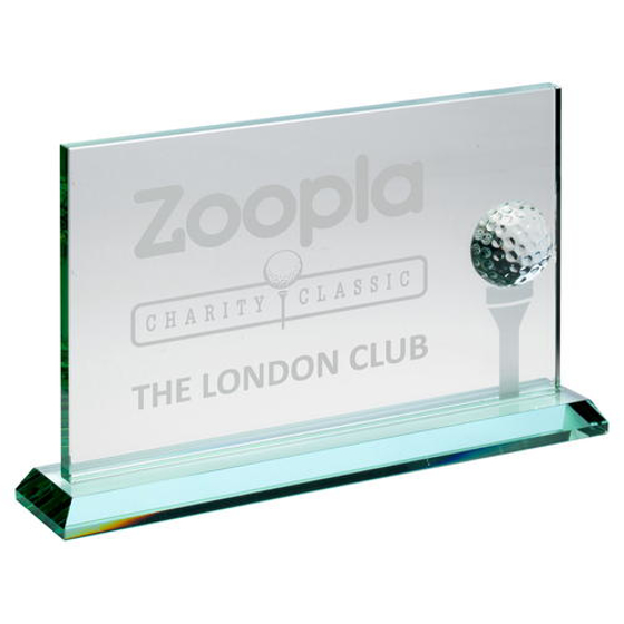 Picture of Jade Glass Rectangle With Golf Ball And Frosted Tee (10mm Thick) - 6 x 9.5in (152 X 241mm)