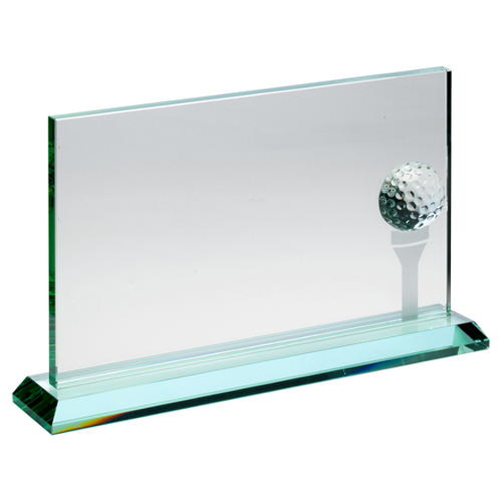 Picture of Jade Glass Rectangle With Golf Ball And Frosted Tee (10mm Thick) - 7 x 11in (178 X 279mm)