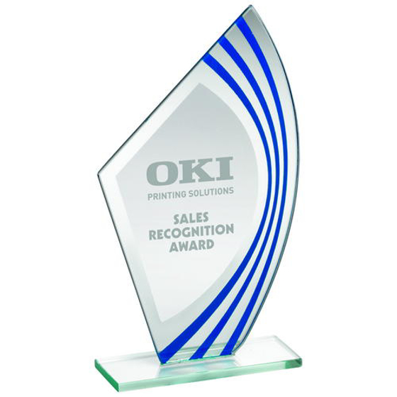 Picture of Jade Glass Sail Plaque With Blue/silv Highlights - (5mm Thick) 8in (203mm)