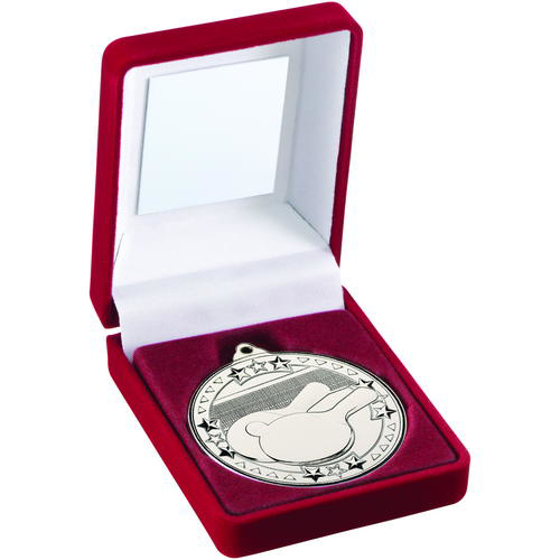 Picture of Red Velvet Box And 50mm Medal Table Tennis Trophy - Silver - 3.5in (89mm)