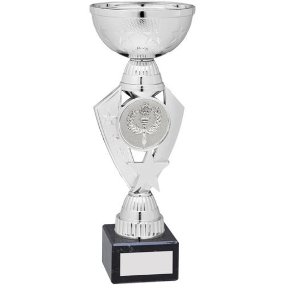 Picture of Silver Total Plastic Star Trophy - (2in Centre) 9.75in (248mm)