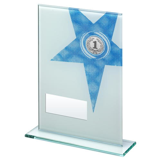 Picture of White/blue Printed Glass Rectangle With Large Star Trophy (1in Centre) - 8in (203mm)