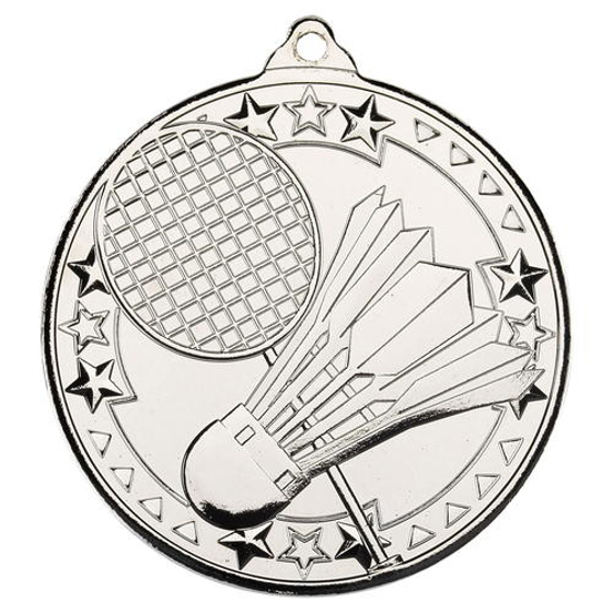 Picture of Badminton 'tri Star' Medal - Silver 2in (50mm)
