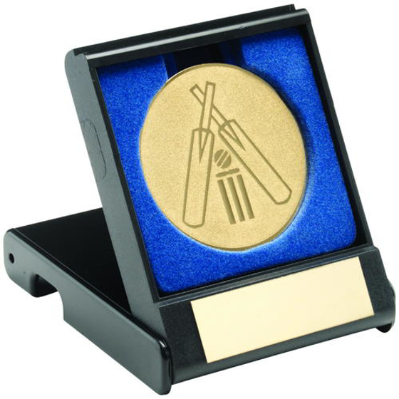 Picture of Black Plastic Box With Cricket Insert Trophy - Gold 3.5in (89mm)