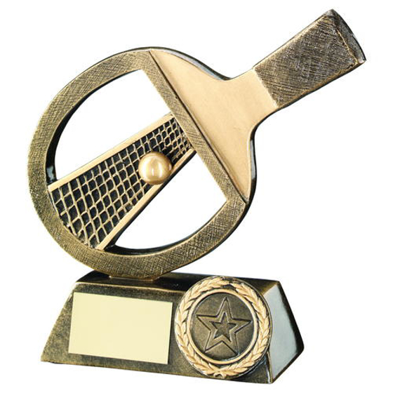 Picture of Brz/gold Table Tennis Bat/net/ball Trophy - (1in Centre) 5in (127mm)