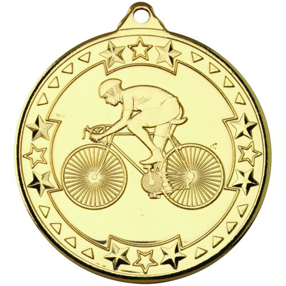 Picture of Cycling 'tri Star' Medal - Gold 2in (50mm)