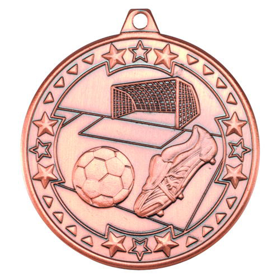 Picture of Football 'tri Star' Medal - Bronze 2in (50mm)