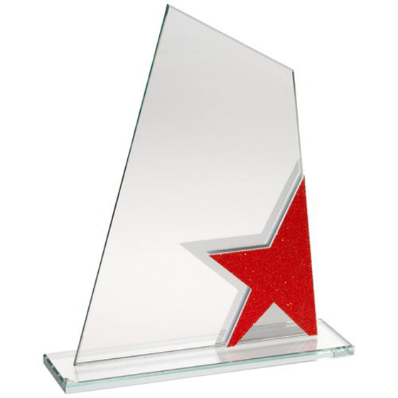 Picture of Jade Glass Plaque With Red/silver Star Detail - 6.5in (165mm)