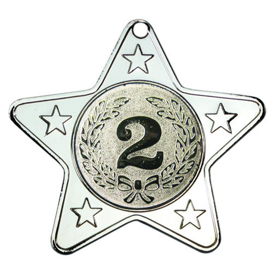 Picture of Star Shaped Medal With 5 Mini Stars (1in Centre) - Silver 2in (50mm)