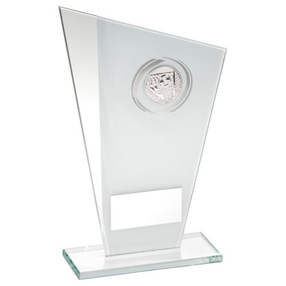 Picture of White/silver Printed Glass Plaque With Football Insert Trophy - 8in (203mm)