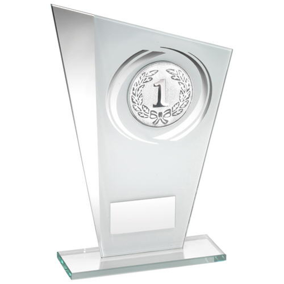 Picture of White/silver Printed Glass Plaque With Wreath Trophy - (1in Centre) - 6.5in (165mm)