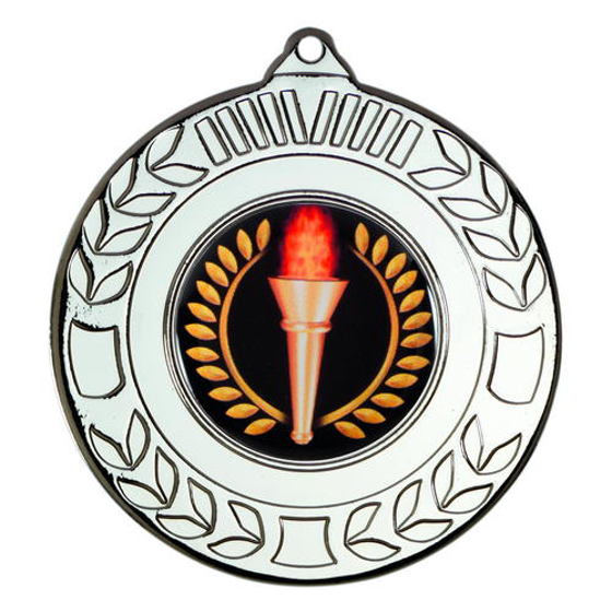 Picture of Wreath Medal (1in Centre) - Silver 2in (50mm)