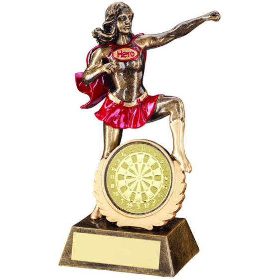 Picture of Brz/gold/red Resin Female 'hero' Award With Darts Insert - 7.5in (191mm)
