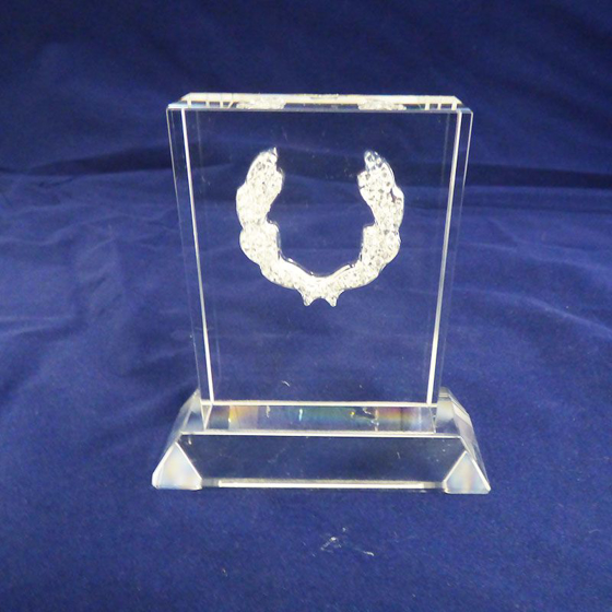 Picture of Rectangular Glass Block with crystal horseshoe. 100mm