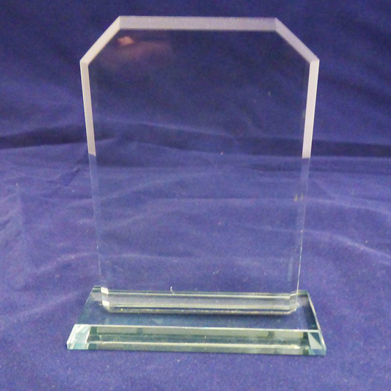 Picture of Square Arched shape Glass Plaque. 120mm