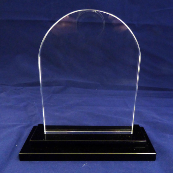 Picture of Arched glass award clear with a black base. 200mm