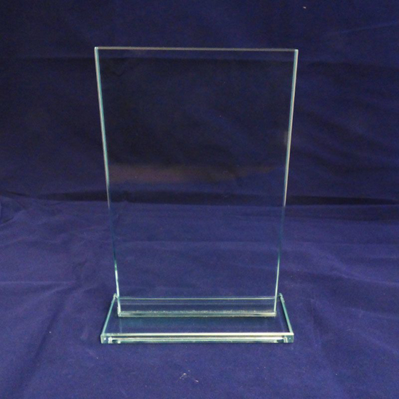 Picture of Square Glass Panel on glass base. 220mm