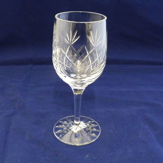 Picture of Glass Cut Panel Wine Glass / Goblet. 165mm
