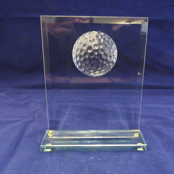 Picture of Glass Plaque with Golf Ball. 175mm