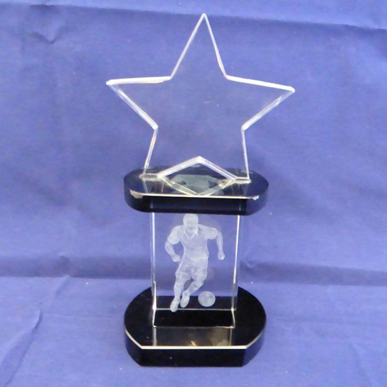 Picture of Superstar Football Crystal Glass Award. 190mm