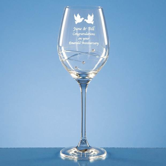 Picture of Single Diamante Wine Glass with Spiral Design Cutting