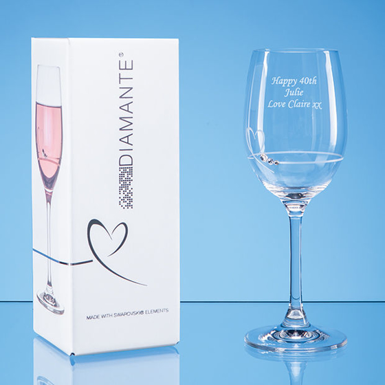 Picture of Single Diamante Petit Wine Glass with Heart Design