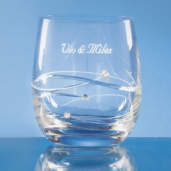 Picture of Single Diamante Whisky Tumbler with Spiral Design Cutting