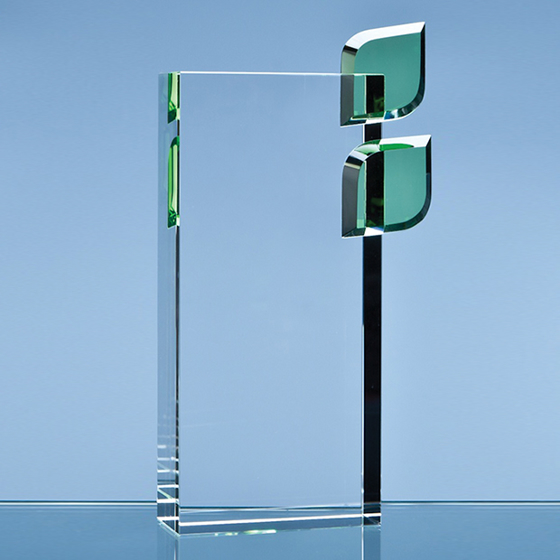 Picture of Rectangular Glass Block with Emerald Green Leaves. 200mm
