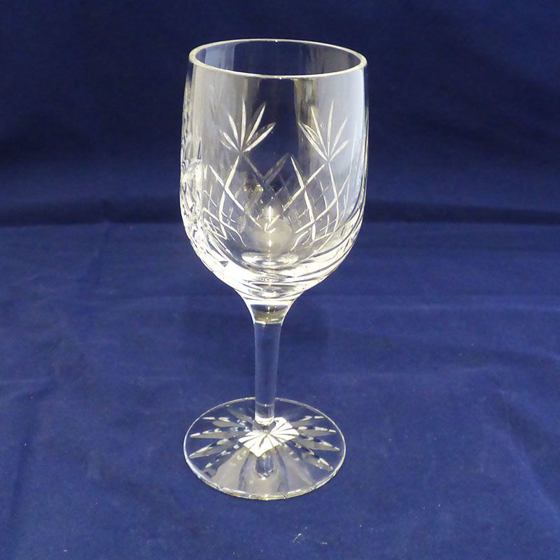 Picture of Glass Cut Panel Wine Glass / Goblet. 170mm
