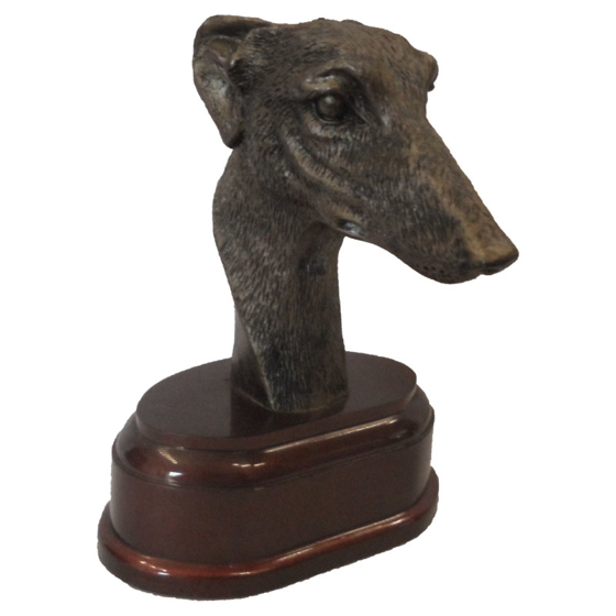 Picture of Greyhound Head on wooden base 115mm