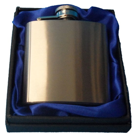 Picture of 3oz Silver Hip flask in blue presentation box