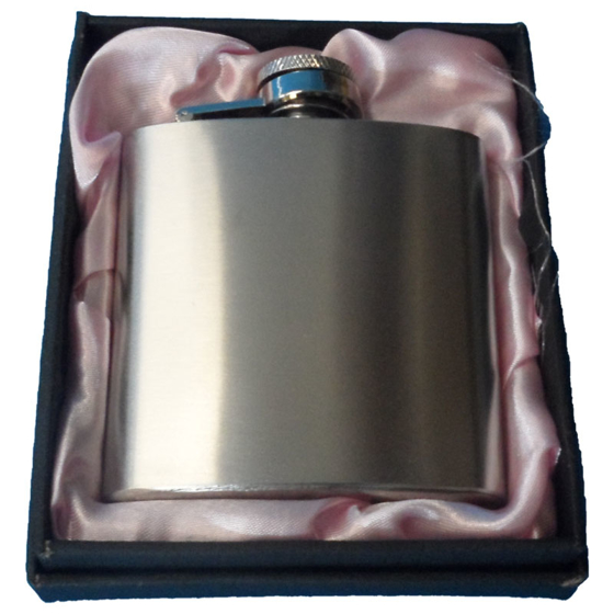 Picture of 3oz Silver Hip flask in pink presentation box