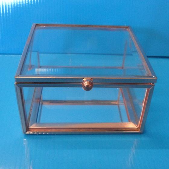 Picture of Rose Gold edged glass jewellery box